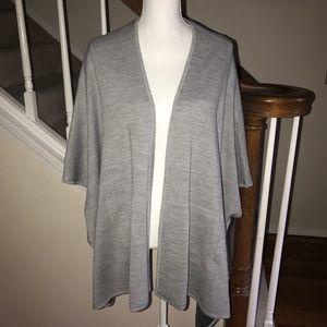 Ann Taylor gray merino wool blend cape shawl XS S